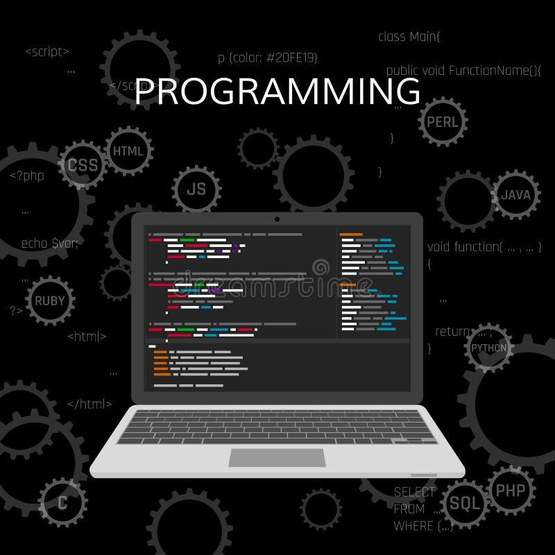 Programmierung und Kodierung Web-Entwicklungs-Konzept Vektor lizenzfreie abbildung