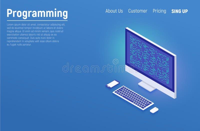 Programmierung und Softwareentwicklung, Programmcode auf Laptopschirm, große Datenverarbeitung, Datenverarbeitung isometrisch Fla lizenzfreie abbildung