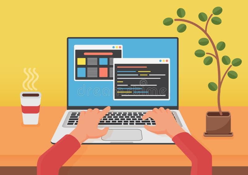 Programmierung, Web-Entwicklungs-Konzept kodierend Programmiererkodiererhände unter Verwendung des Laptops Code auf dem lapto Sch stock abbildung