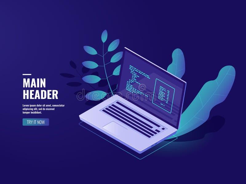Programmierungs-Software, Arbeitsplatzbüro, Laptop mit Houseplant, Web-Entwicklungs-Website und Anwendungen, Serverraum stock abbildung