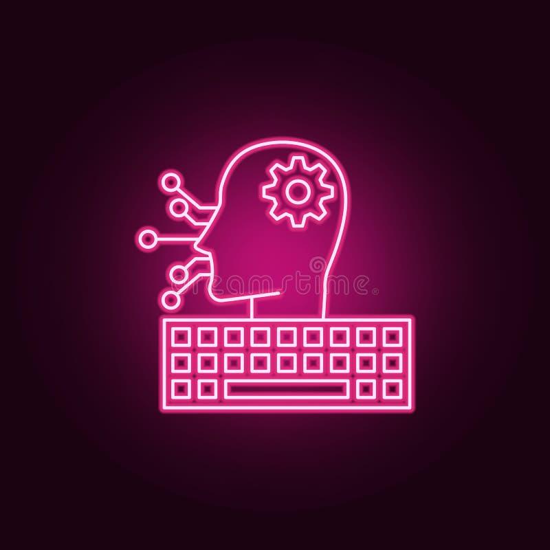 Programmierungsikone der künstlichen Intelligenz Elemente von künstlichem in den Neonartikonen Einfache Ikone für Website, Webdes lizenzfreie abbildung