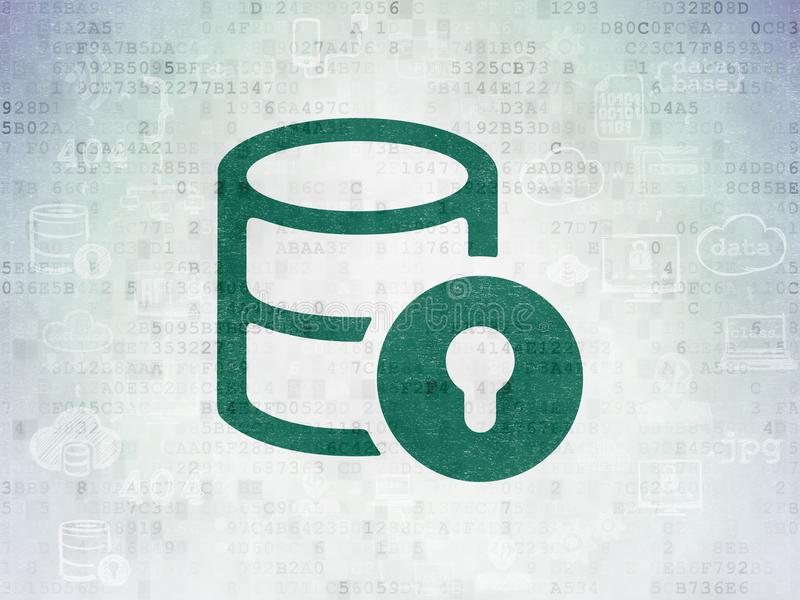Programmierungskonzept: Datenbank mit Verschluss auf Digital-Daten tapezieren Hintergrund vektor abbildung