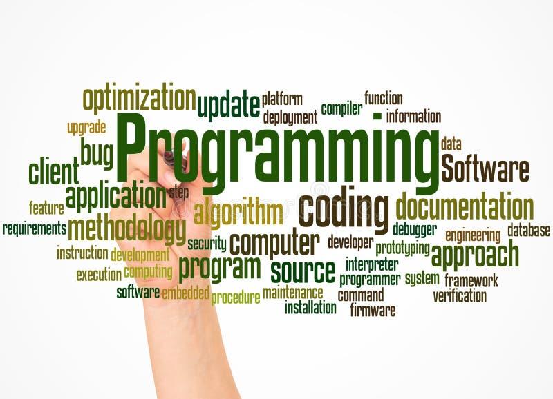 Programmierungswort bewölken sich und übergeben mit Markierungskonzept stockfotos