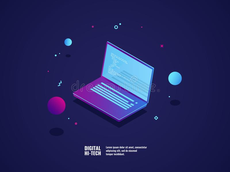 Programming of application and software development concept, laptop with program code on screen, vector illustration. Isometric neon dark ultraviolet royalty free illustration