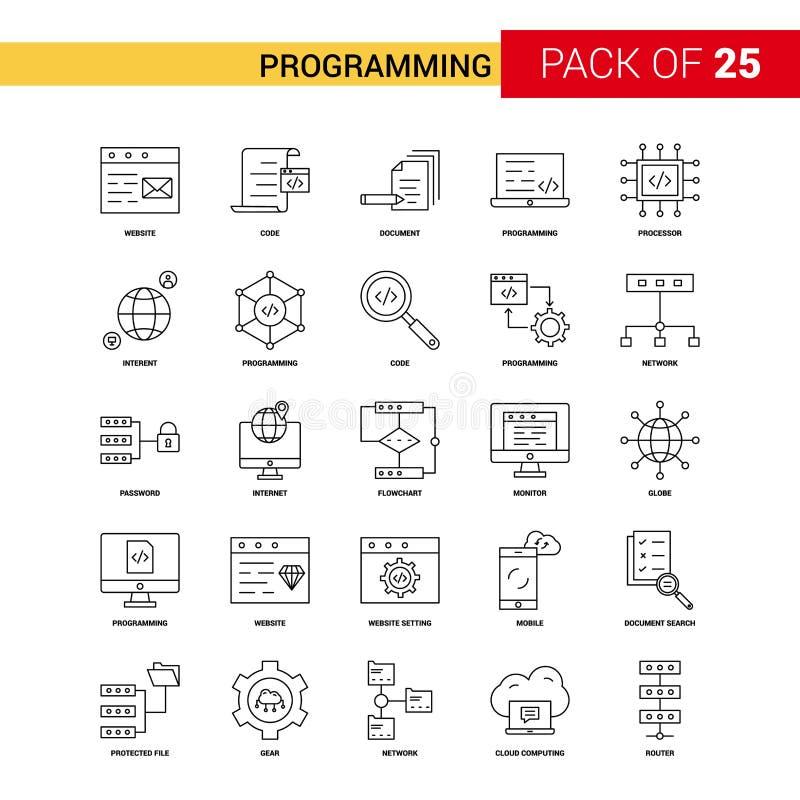 Programming Black Line Icon - 25 Business Outline Icon Set vector illustration
