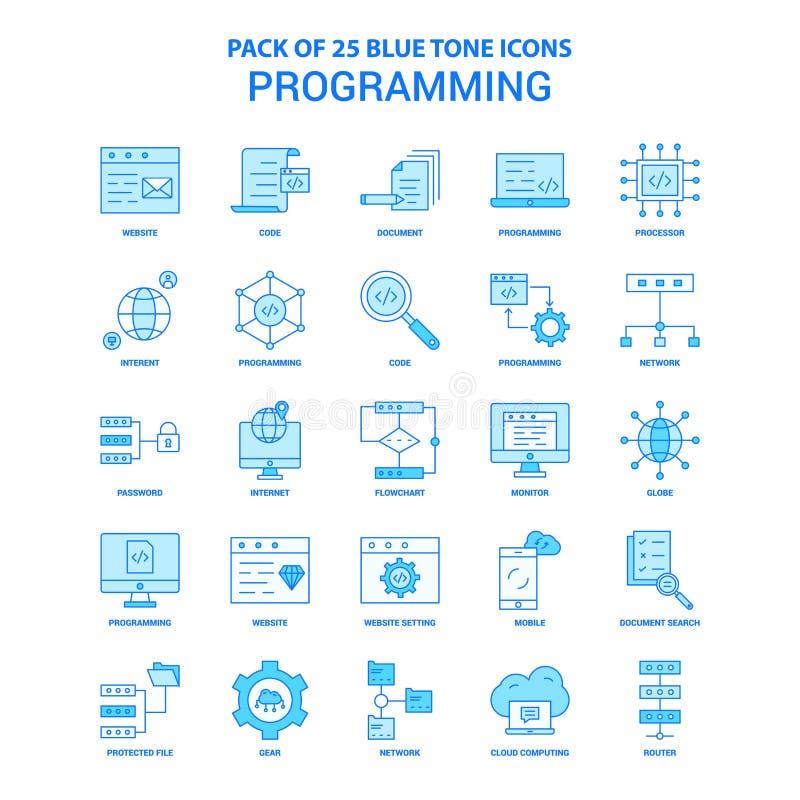 Programming Blue Tone Icon Pack - 25 Icon Sets stock illustration