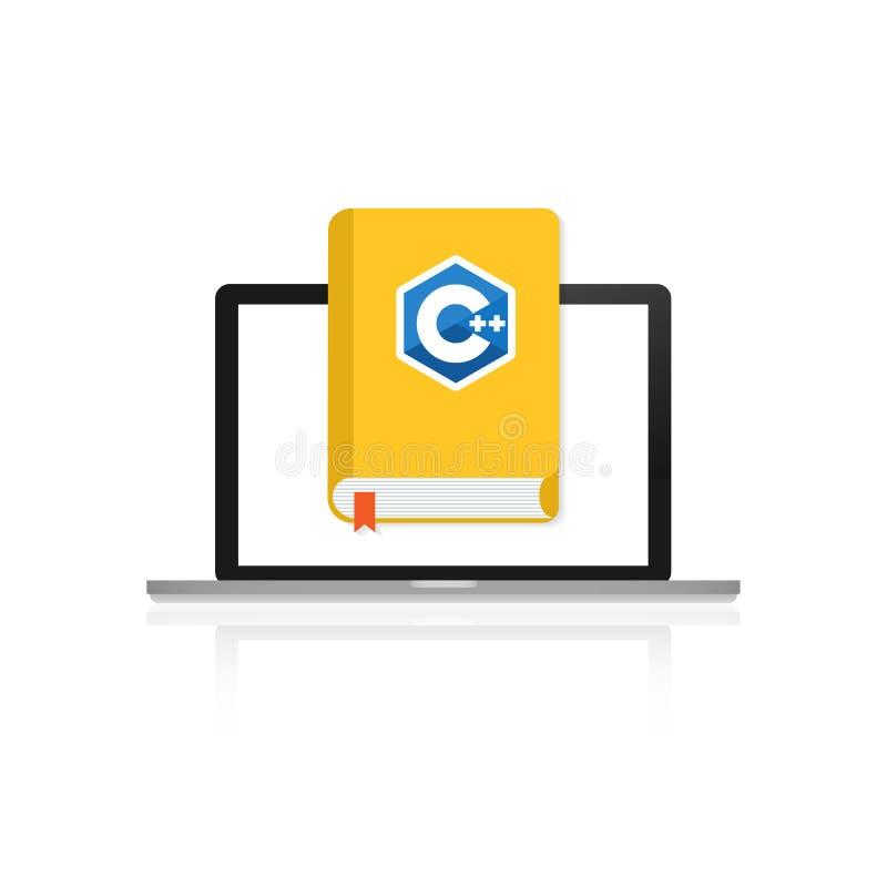 Programming book C on laptop screen. Programming book C plus plus on laptop screen. Vector stock illustration royalty free illustration