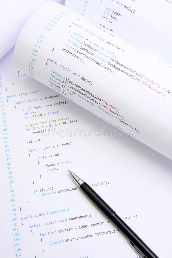 Programming code. Computer programming source code on paper stock photography