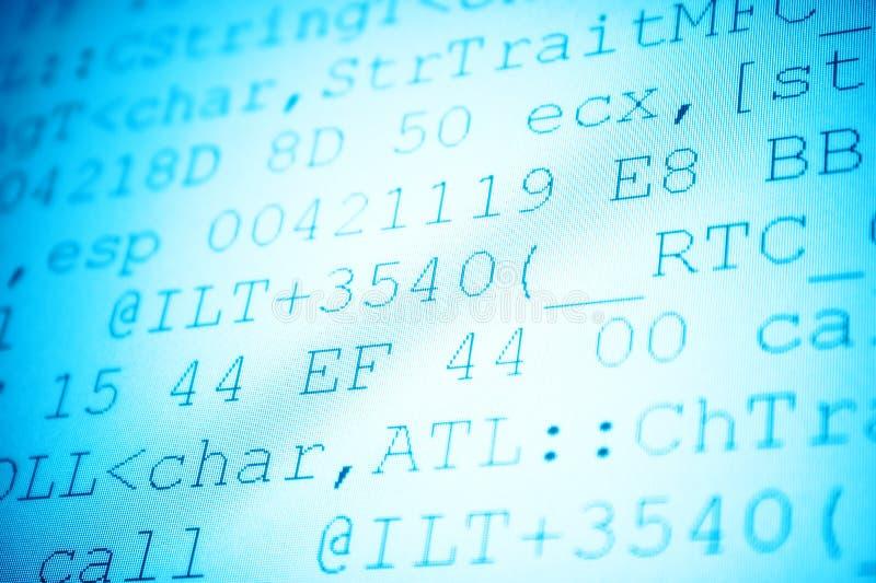 Programming code. Shallow dof blue tint stock images