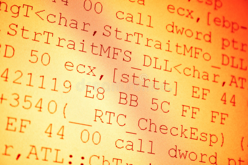 Programming code. Shallow dof red tint stock images