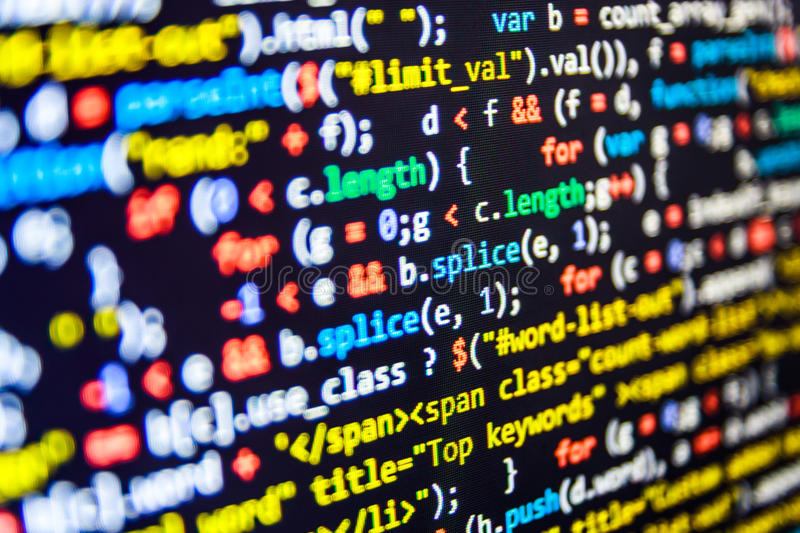 Programming code abstract screen of software developer. Computer script stock image