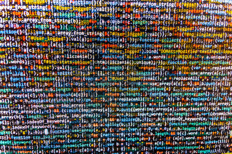 Programming code abstract screen of software developer. Computer script royalty free stock photos