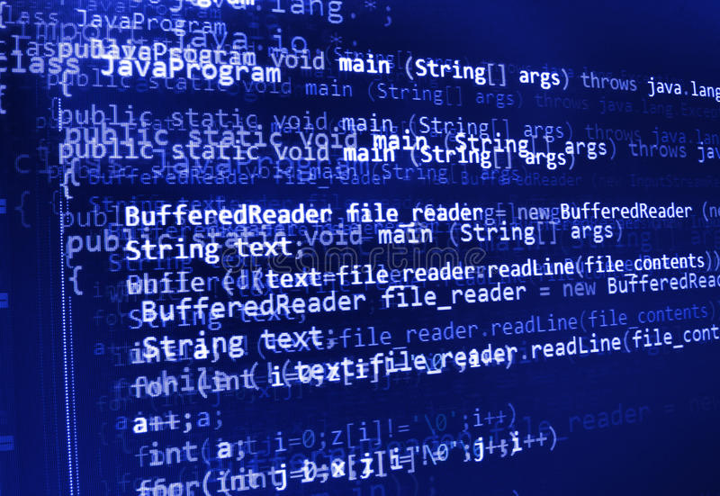 Programming code abstract screen of software developer. Computer script stock images