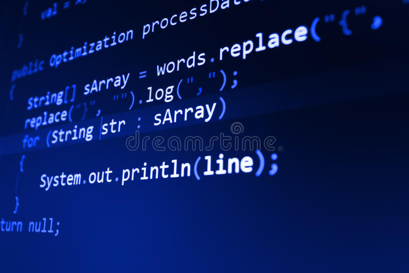Programming code abstract screen of software developer. Computer script royalty free stock photography