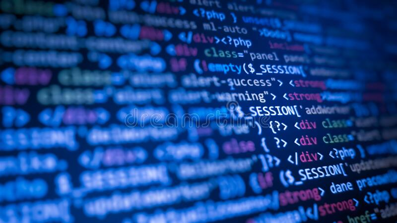 Programming code abstract technology background of software. Developer vector illustration