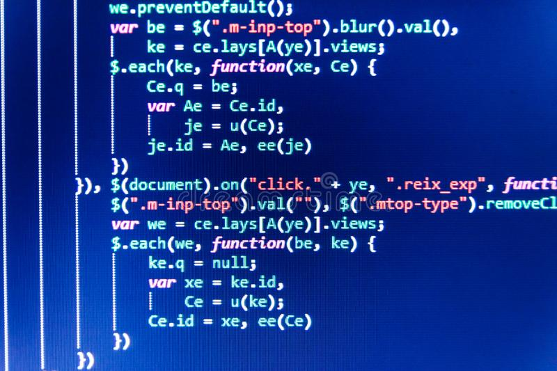 Programming code abstract technology. Programming code abstract screen of software developer. stock photos