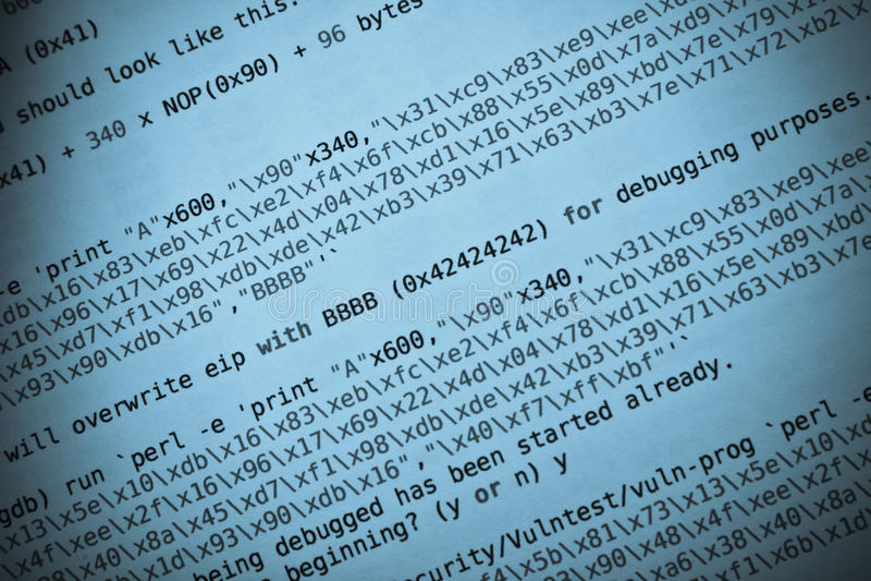 Programming code blue tint. Coding language. Programming code in blue tint. Buffer overflow in hacking stock photography