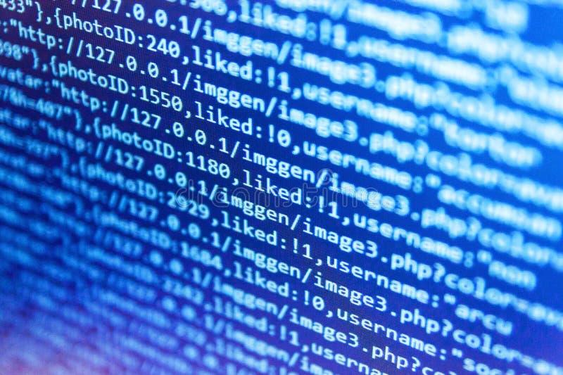 Programming code. IT business company. Creative focus effect. Mobile app building. Big data database app. royalty free illustration