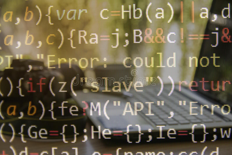 Programming code with computer background of software. Developer and computer script royalty free stock image