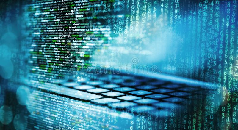 Programming code with computer and matrix. Programming code with matrix, computer and abstract technical background in blue royalty free stock image