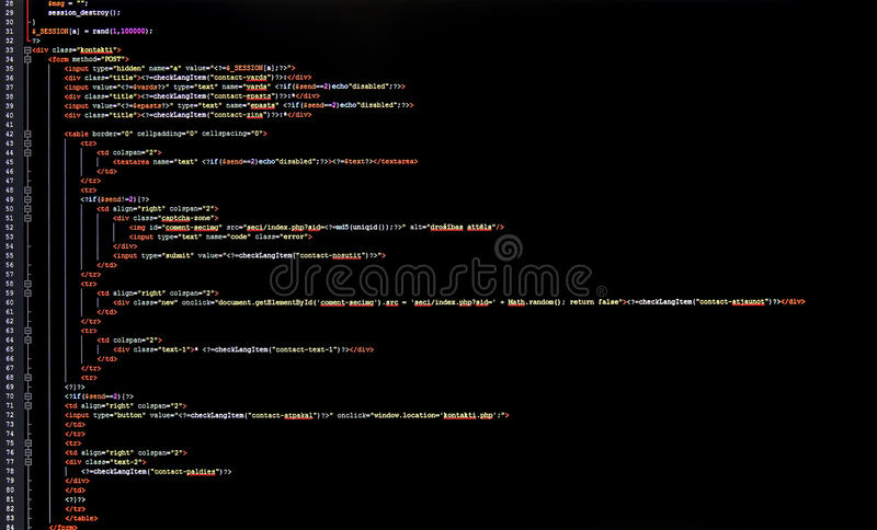 Programming code. On computer screen royalty free stock photography