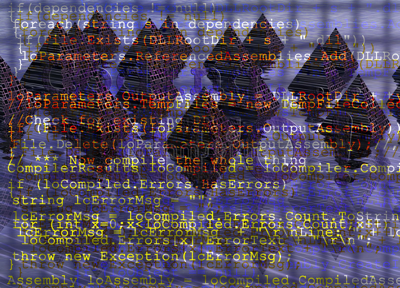 Download Programming Code With Grid On Fantasy Pyramids Stock Illustration - Image: 6086769