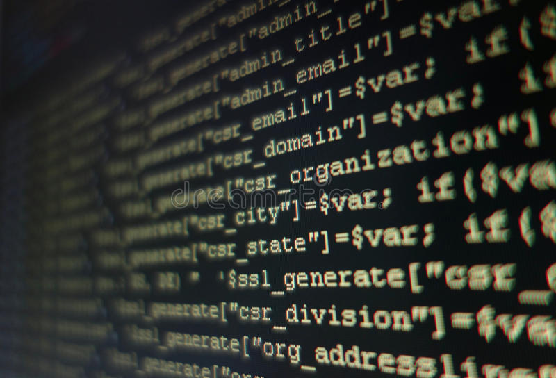 Programming code. Hack abstract background stock image