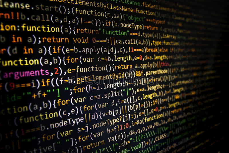 Programming code screen of software developer. Computer. Programming code abstract screen of software developer. Computer code development stock photos