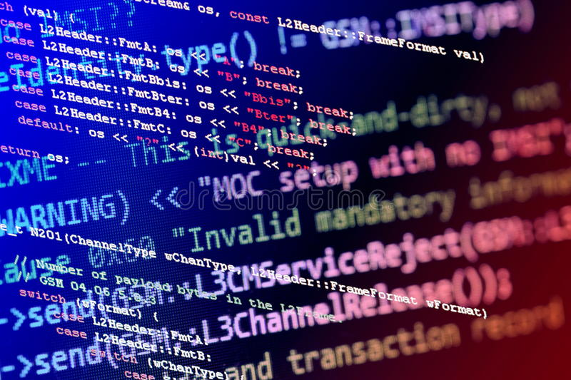 Programming code. Telecommunication related programming code on coloured background royalty free stock photos