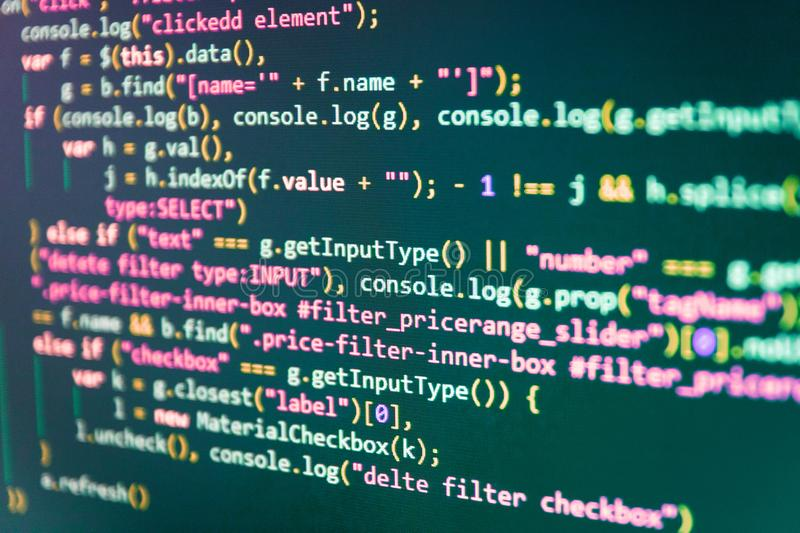 Programming code typing. Coding hacker concept. Business and AI royalty free stock image