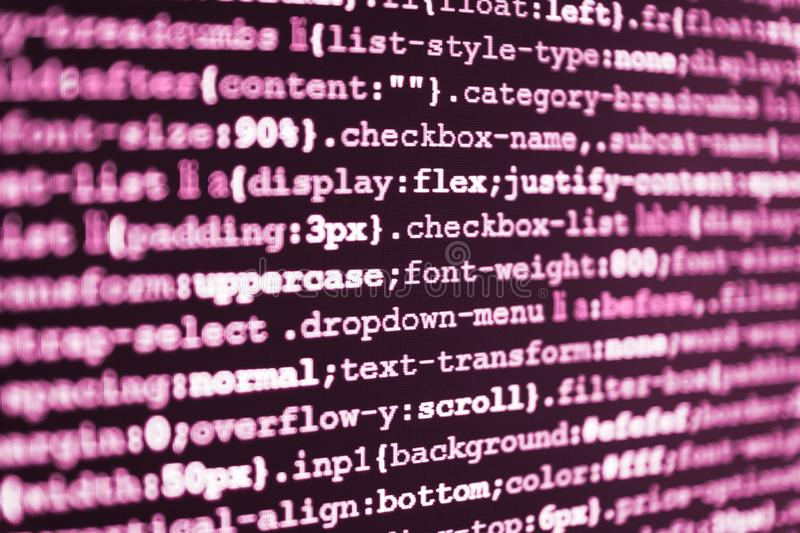Programming code typing. Webdesigner Workstation. Programming code typing stock image