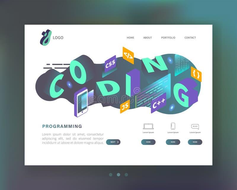 Programming, Coding Concept. Isometric Website Landing Page Template. Web Development Mobile Software stock illustration