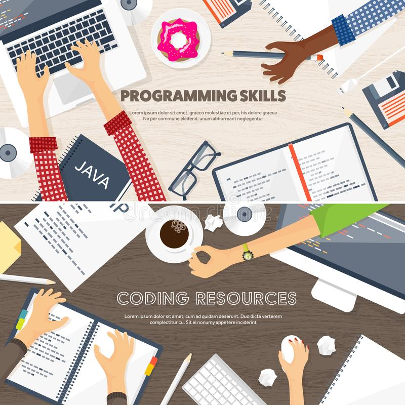 Programming,coding. Flat computing background. Code, hardware,software. Web development. Search engine optimization. Innovationtechnologies Mobile app Vector vector illustration