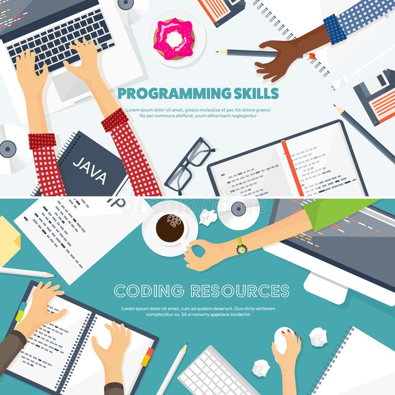 Programming,coding. Flat computing background. Code, hardware,software. Web development. Search engine optimization. Innovationtechnologies Mobile app Vector stock illustration