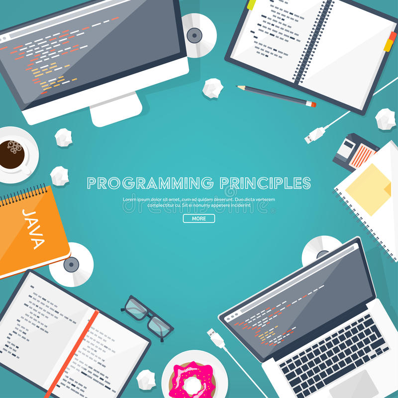 Programming,coding. Flat computing background. Code, hardware,software. Web development. Search engine optimization Innovationtechnologies Mobile app Vector royalty free illustration