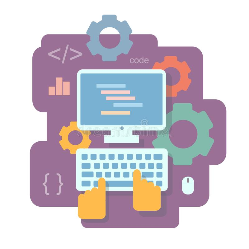 Programming and and coding flat concept. App development, SEO and software coding, testing, debugging Infographics royalty free illustration