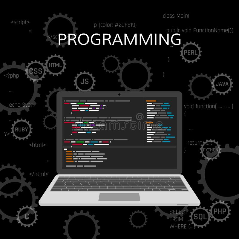 Programming and coding. Web development concept. vector.  royalty free illustration