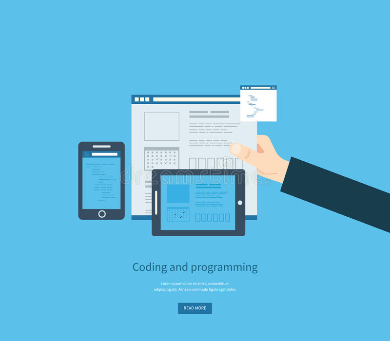 Programming and coding. Web development and search vector illustration