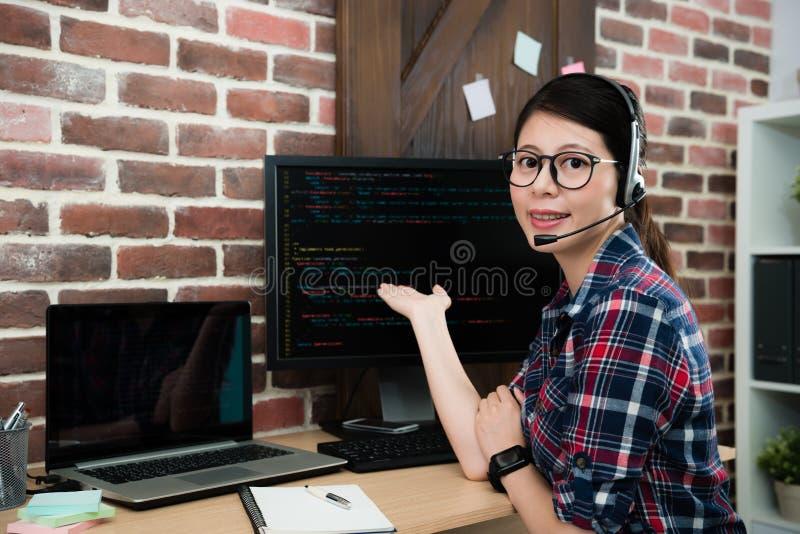 Programming company service center female operator stock photo