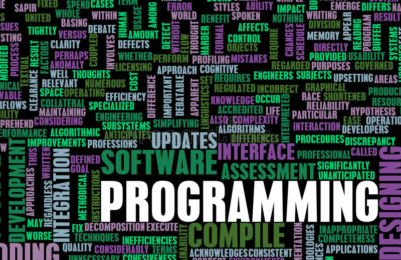 Programming. Or Compile in Software Development stock illustration