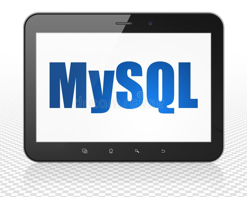 Programming concept: Tablet Pc Computer with MySQL on display. Programming concept: Tablet Pc Computer with blue text MySQL on display, 3D rendering royalty free illustration