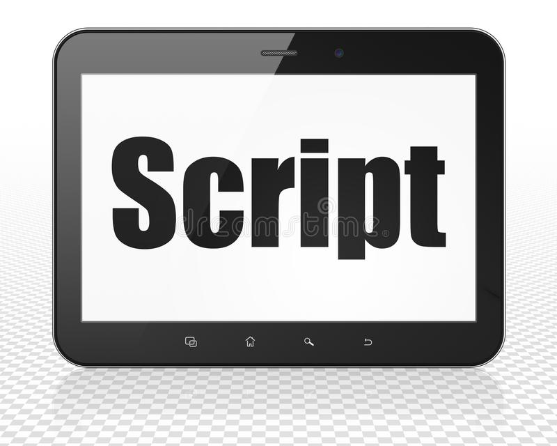 Programming concept: Tablet Pc Computer with Script on display. Programming concept: Tablet Pc Computer with black text Script on display, 3D rendering stock illustration