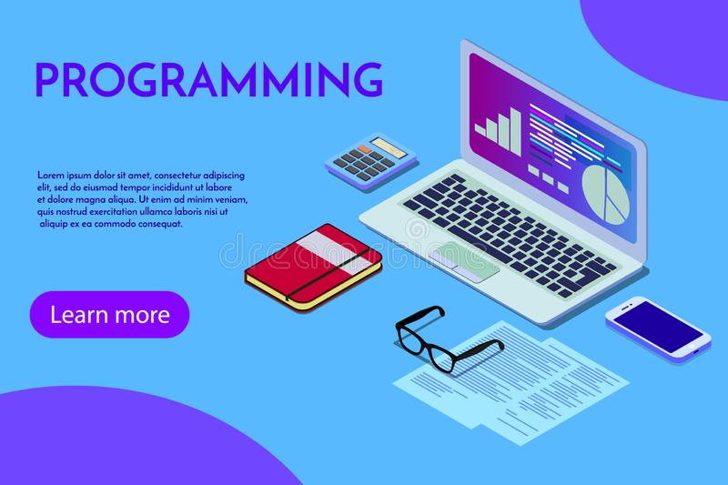 Programming concept, web engineer at work, vector images. Programmer programming web site landing page template royalty free illustration