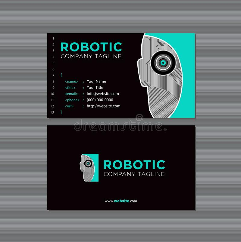 Programming and Developer Business Card Template with Robot and Logo royalty free illustration