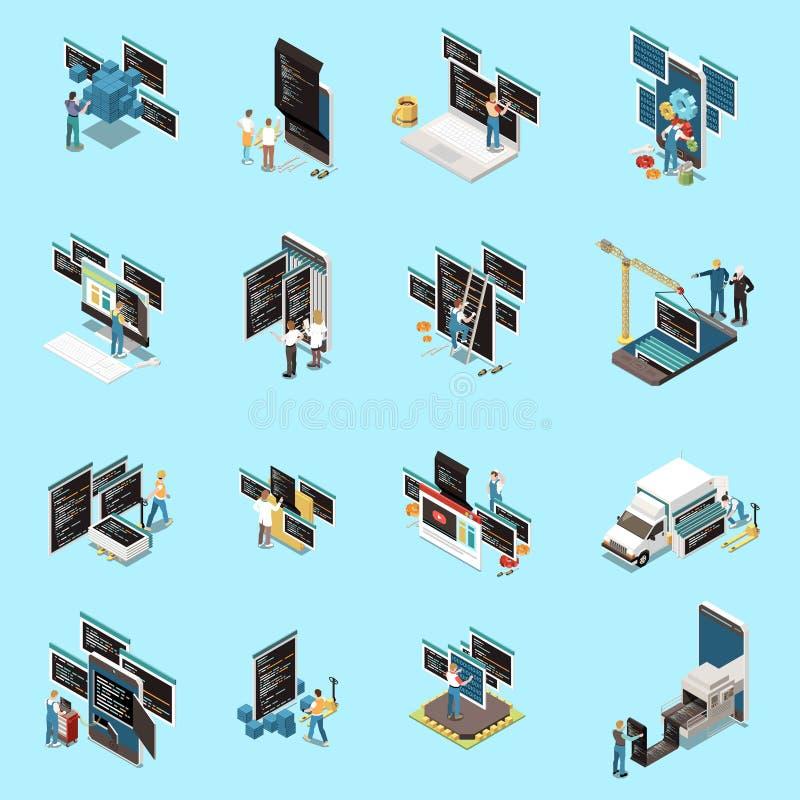 Programming Development Icons Set. With technology symbols isometric isolated vector illustration vector illustration