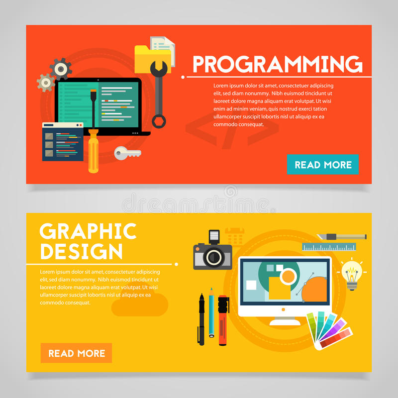 Programming And Graphic Design Concept Banners Stock