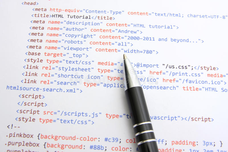 Programming html code stock images