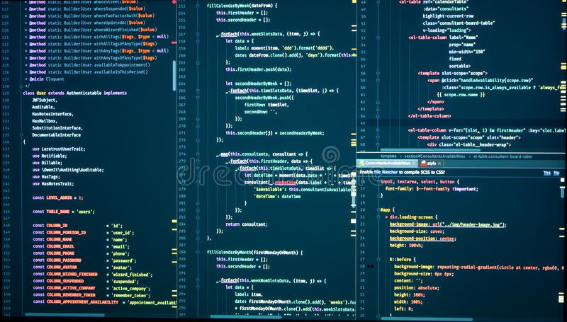 Programming with HTML, PHP and javascript. Backend source code on monitor. Programming with HTML, PHP and javascript. Backend source code on computer monitor royalty free stock photography