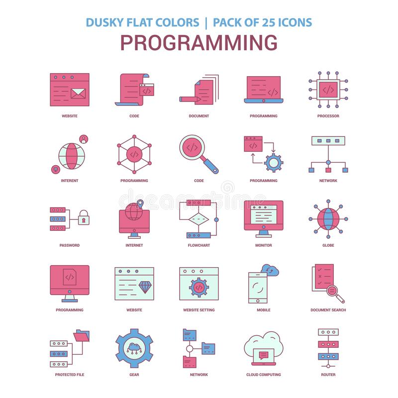 Programming icon Dusky Flat color - Vintage 25 Icon Pack stock illustration