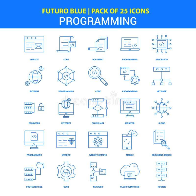 Programming Icons - Futuro Blue 25 Icon pack royalty free illustration